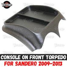 Console no painel frontal para renault sandero 2009 2013 abs plástico organizador função almofada acessórios arranhões estilo do carro tuning