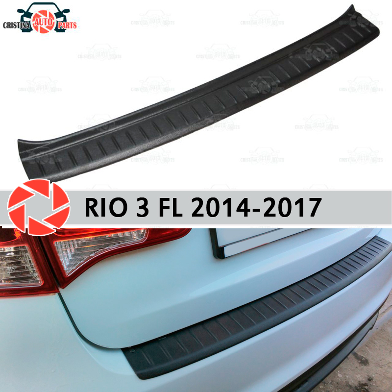 Plate cover rear bumper for Kia Rio 3 2014-2017 guard protection plate car styling decoration accessories molding s25 1156 ba15s p21w car led light bulb 13 smd 5050 brake rear turn signal light bulb leds lamp 12v white red car styling