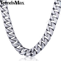 Trendsmax Customized Any Length 11mm Wide Smooth Curb Cuban Link 316L Stainless Steel Necklace Mens Chain Jewelry HN46