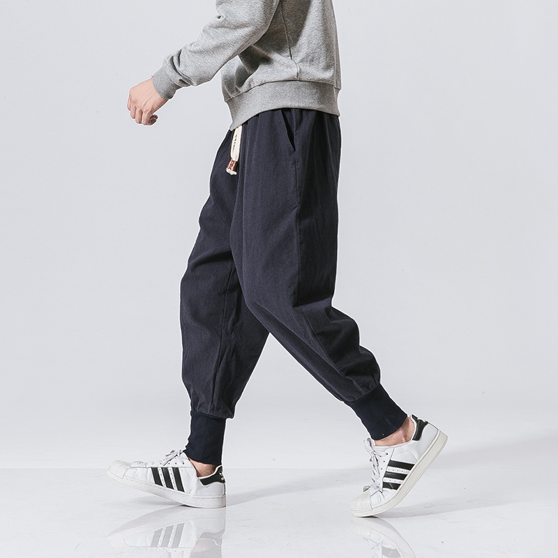 Trendy Japanese Cotton Joggers Black