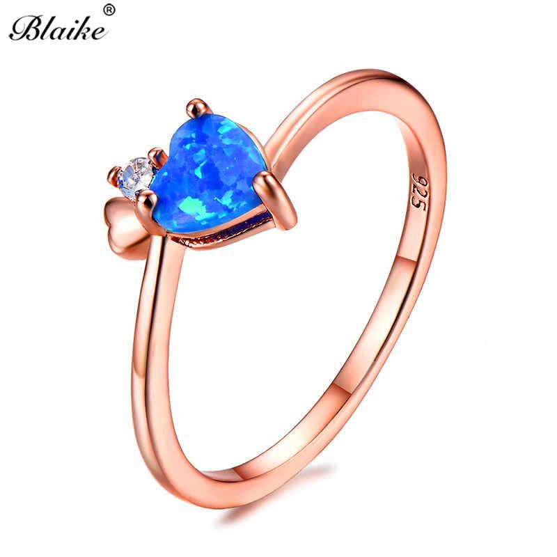 Blaike Carino Cuore Blu/Bianco/Viola Opale di Fuoco Anelli per Le Donne Vintage Rose Gold Filled Birthstone Anello Femminile gioielli di fidanzamento