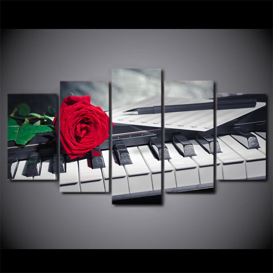 Home Decorators Key Wall Art ~ Modular piano keys painting wall art frame panel rose