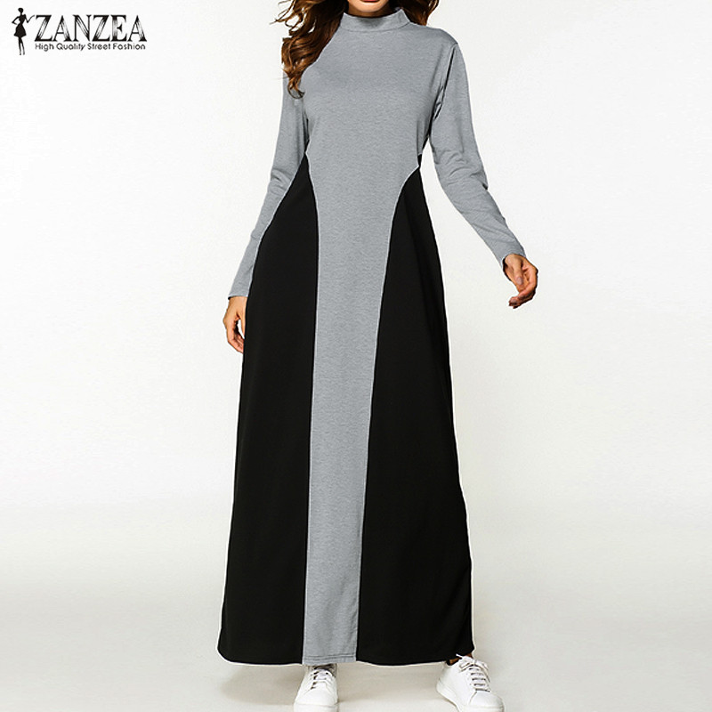 2018 ZANZEA Women Elegant Turtleneck Long Sleeve Party Long Dress Autumn Patchwork Casual Loose Kaftan Maxi Vestido Plus Size