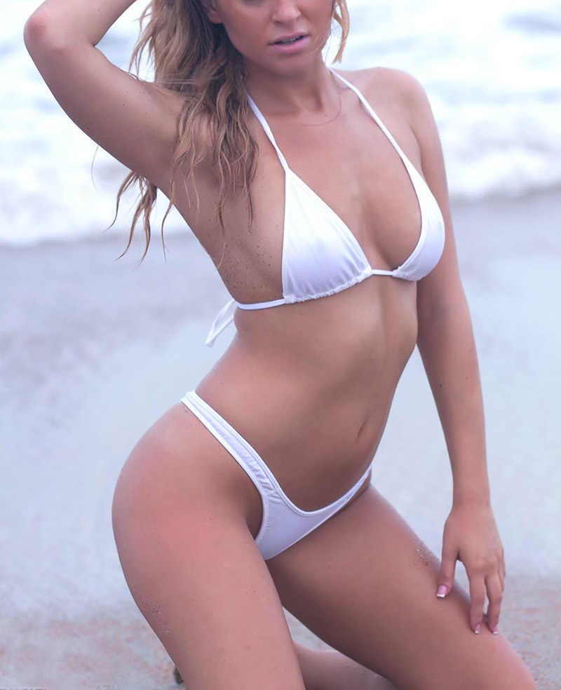 4726c54fd4a Sexy Solid High Cut Thong Bikini Swimwear Women Bathing Suits Lady T Back  Bikinis Set Triangle