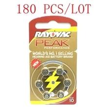 180 Pcs Rayovac שיא אבץ אוויר סיוע סוללות A10 10A ZA10 10 S10 שמיעה למכשירי שמיעה