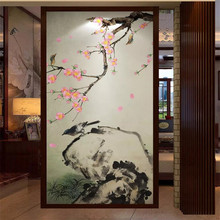 Suya peach new Chinese style pen and flower porch high-grade wall cloth manufacturers wholesale wallpaper mural photo