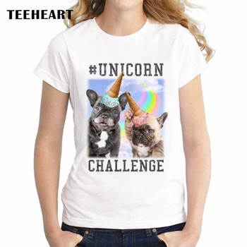 Unicorn Dog  Women T-Shirt 2017 Summer Short Sleeve T Shirt Fashion French Bulldog Party Printed Tee O-Neck Casual Tops