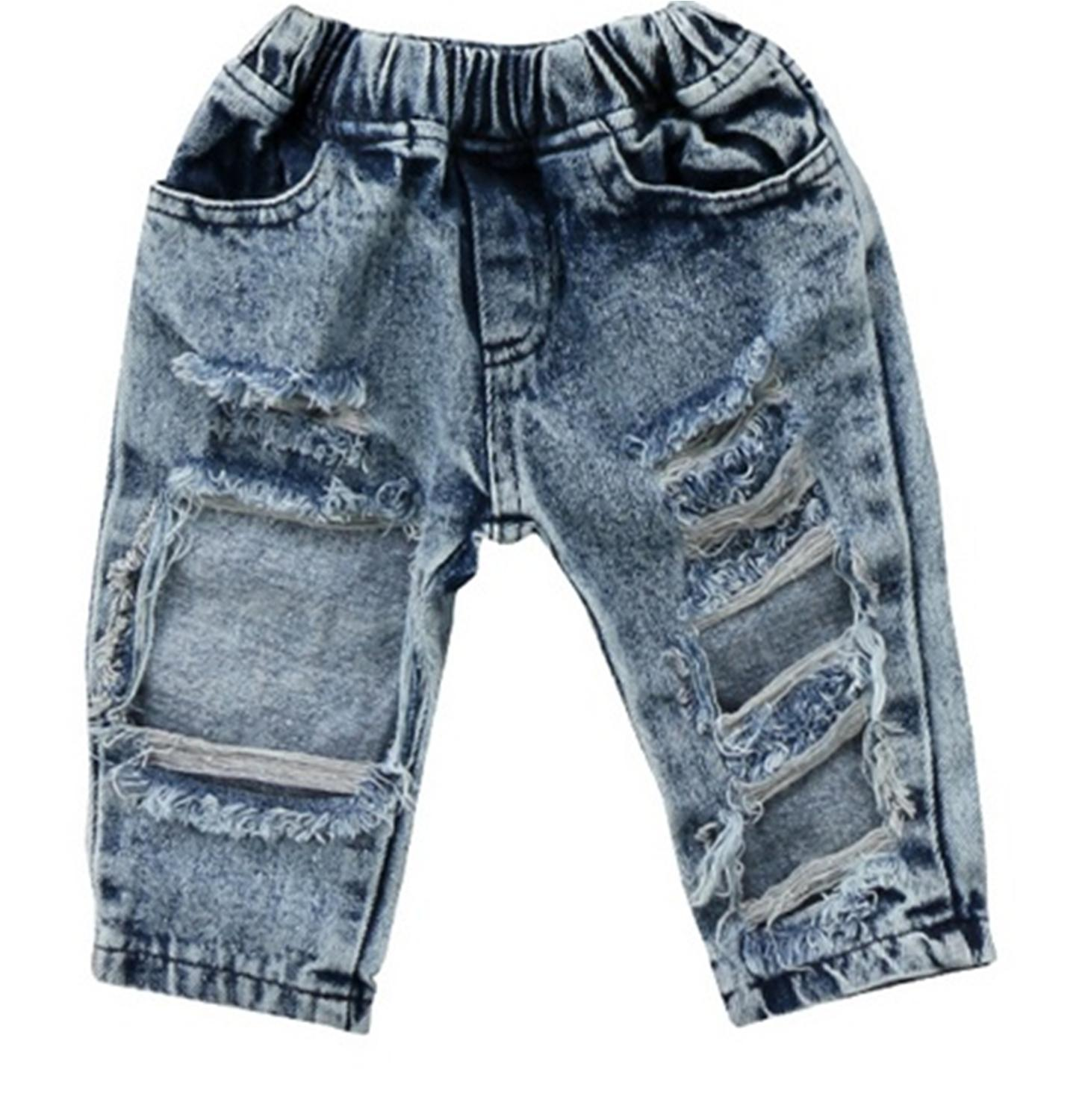 New Baby Kid Girls Summer Casual Pants Long Denim Jeans Ripped Patch Fashion 1PC Girls Leggings