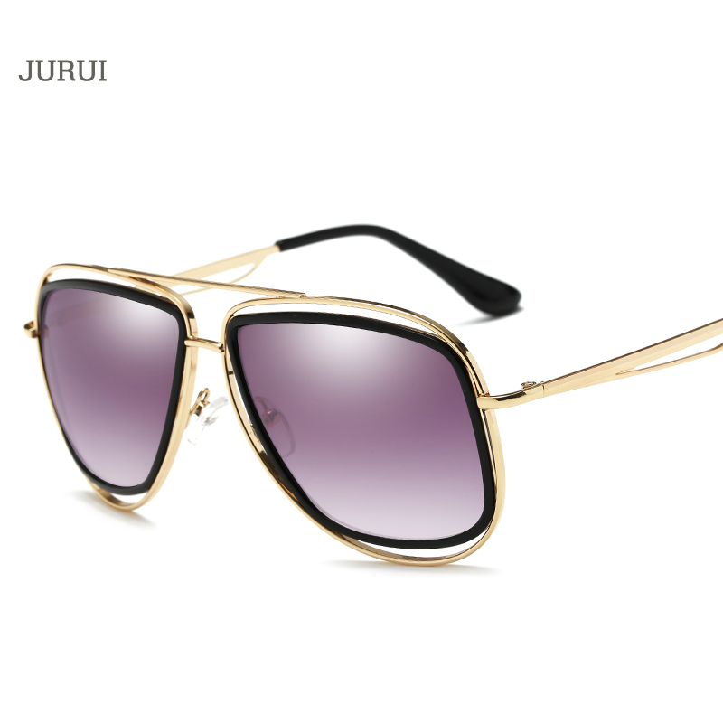 New Brand Designer Fashion Alloy Women Mirror Sunglasses Oversize Female Flat Top Vintage Sun Glasses Eyewear Oculos de so