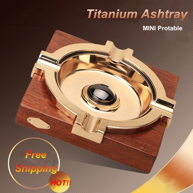 New Style! Luxury Portable Intsia Spp Wood Platform Titanium Cigar Slot Cigar Ashtray Holder 4 Rests With Gift Box