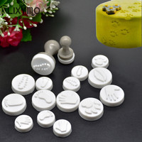 LIXYMO cookie seal stamp 1 set (2 handles 16 molds) DIY pastry cake cookie biscuits moulds cute design home made moulds