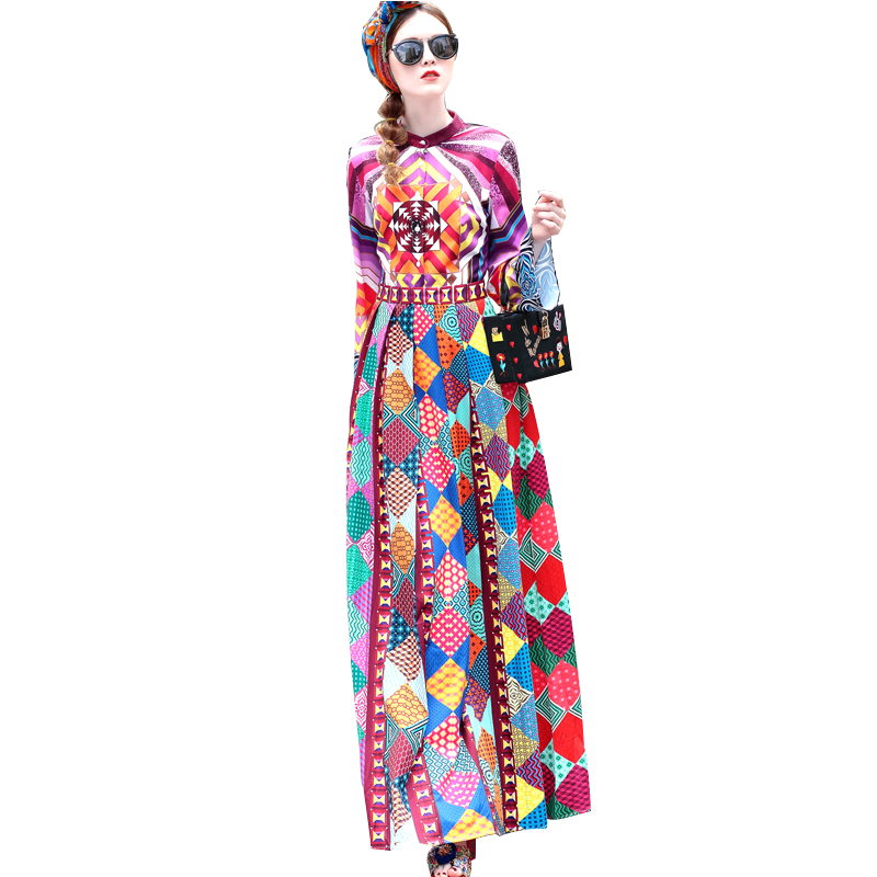 2018 HIGH QUALITY New Women Maxi Long Bohemian Dresses Flower Printed Full Length Autumn Plus Size 4XL Vinatge Dress Vestidos ilismaba new ladies fashion sexy autumn long sleeved brand dresses high quality printed knitted elastic fabric women s dress