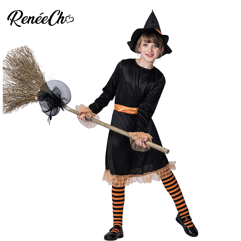 Reneecho halloween costume for girls long sleeve black dress with hat set cute witch costume kids little girl vampire costume