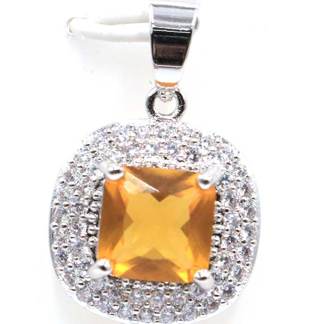 2018 New Arrival Square Golden Citrine Natural White CZ SheCrown Gift For Girls 925 Silver Pendant 26x17mm