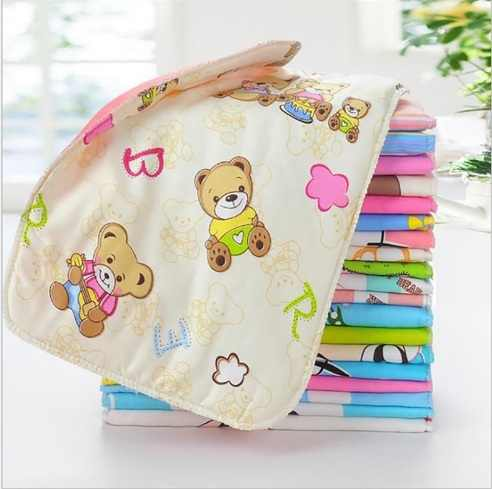 5pcs 24 * 35cm Printed Diapers Kids Cloth Diapers Baby Stroller Pram Waterproof Bed Reusable Layer Foil Mat Blanket Urine P