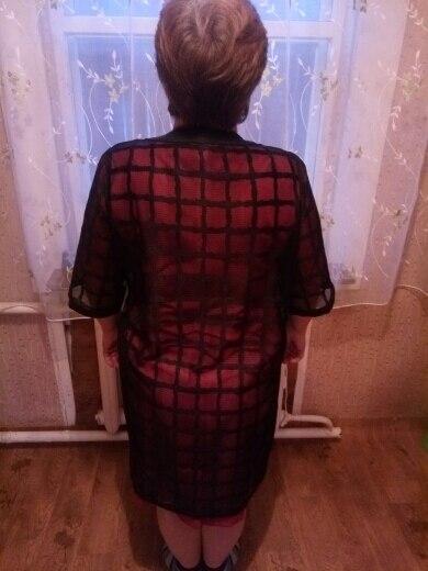 New Plus Size Chiffon Coat Summer Style Fashion Women'S Clothing Big Size Black Plaid Print Loose Half Sleeve Lady Long Cardigan photo review