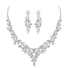 Fashion Alloy Rhinestone Faux Pearl Necklace Earrings Women Bride Jewelry Set(China)
