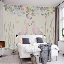 Nordic fresh flower flamingo background wall professional production mural wallpaper wholesale custom poster photo