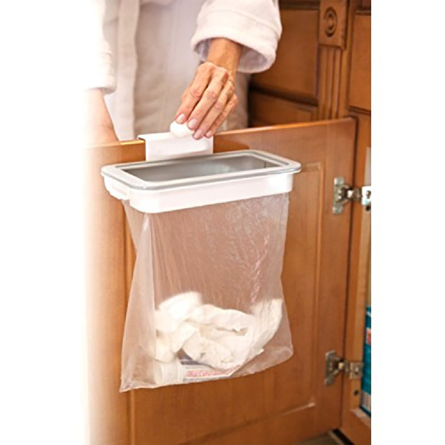 Kitchen Cabinet Door Basket Hanging Trash Can Waste Bin Garbage Rack Tool