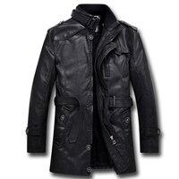 Autumn Winter Men S Jacket Leather Jacket Warm Coat Warm Coat Long Style Water Washed Locomotive