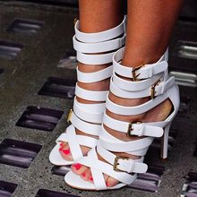Women Concise Sandals Gladiator Women Open Toe White Triple Buckle Heeled Sandals Boots Women Wedding Shoes Summer 2019 New