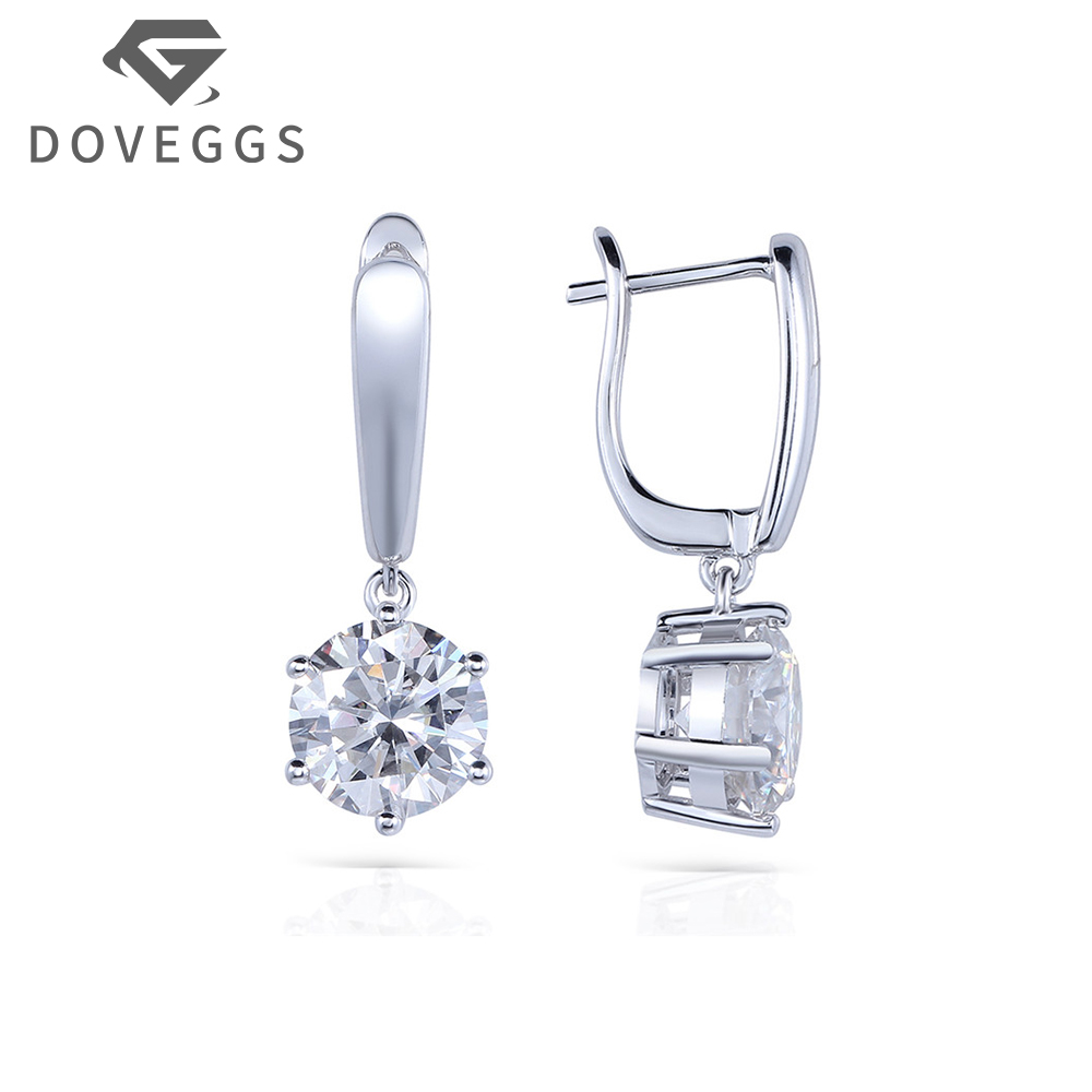 14K 585 White Gold 4 Carat ctw No Less Than GH Color Lab Grown Moissanite Diamond Women Fashionable Earrings Free Shipping wholesale price free shipping 4 in 1 bedroom air purifier working noise less than 35db one touch operation