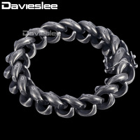 Davieslee Mens Bracelet 316L Stainless Steel Upturn S Bracelet 15mm Gunmetal Tone Magnet Clasp DHB473