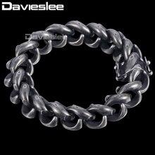 Davieslee подъем s браслет мужской браслет магнит застежка 316L Нержавеющая сталь Gunmetal тон 15 мм DHB473