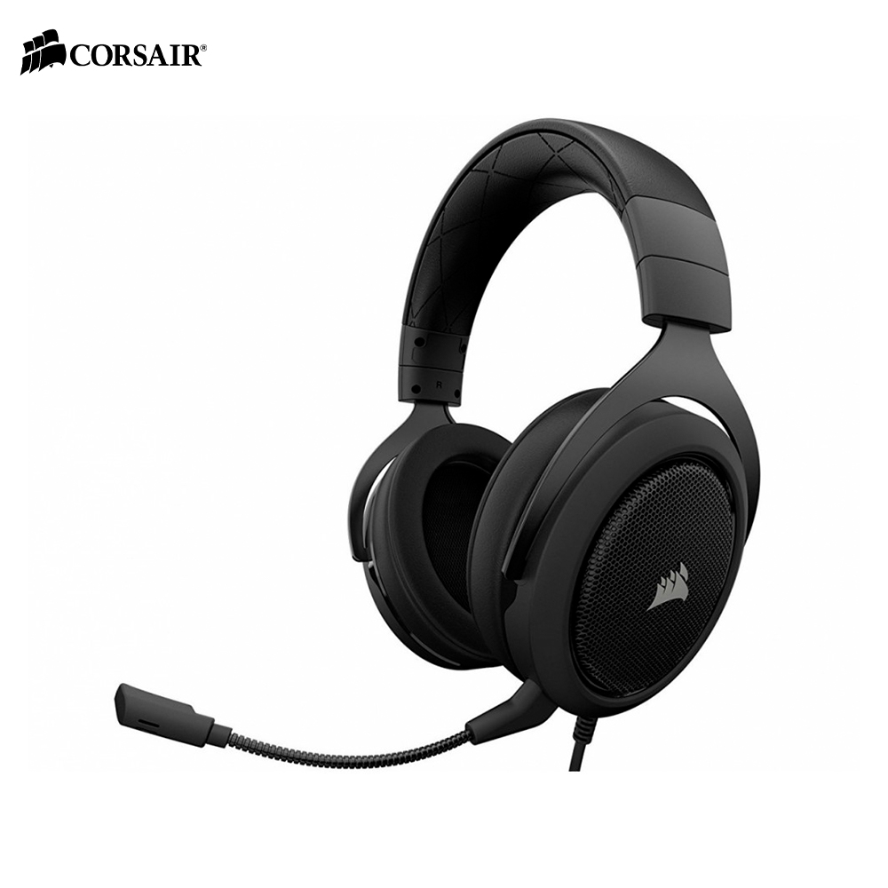 Earphones & Headphones CORSAIR HS50 CARBON Stereo Gaming Headset wired esports computer PC original xiberia v10 usb gaming headphones vibration led stereo around gaming headset headphone with microphone mic for pc gamer