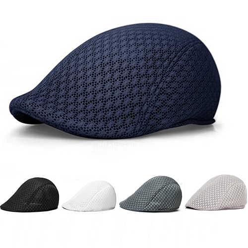 45fd4bcdddbfa Unisex Fashion Duck Mesh Sun Flat Cap Golf Beret Newsboy Cabbie Baseball Hat