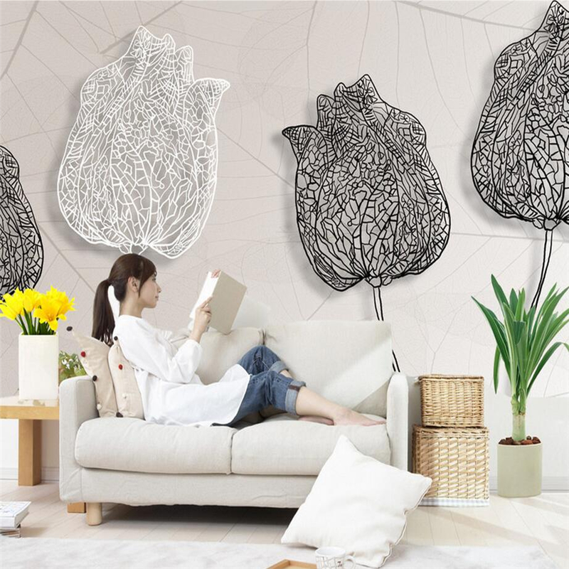 Modern Wallpapers 3D Stereoscopic Murals White Black Photo Wall Papers for Living Room Home Decor Flowers Wall Murals Nature shinehome black white cartoon car frames photo wallpaper 3d for kids room roll livingroom background murals rolls wall paper