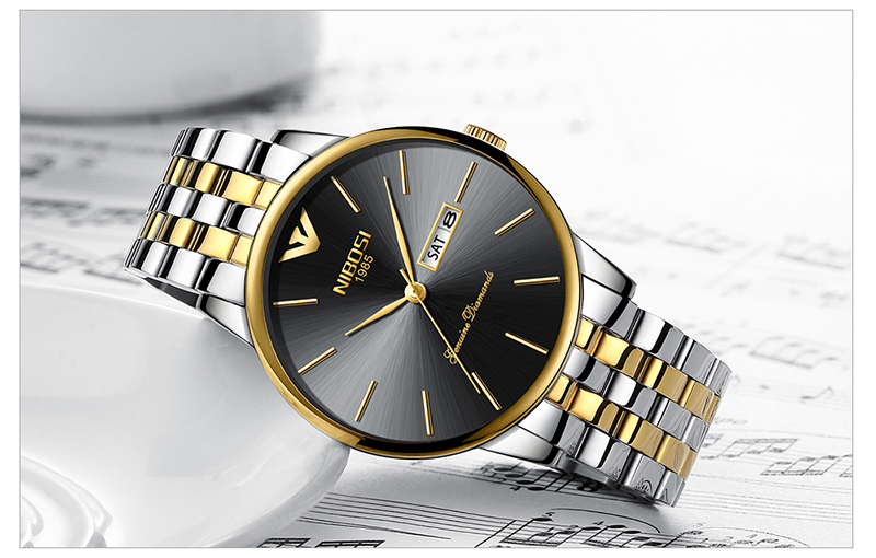 NIBOSI Relogio Masculino Mens Watches Top Brand Luxury Date Week Watch Men Waterproof Black Watch With Gold Montre Homme 2018    (10)