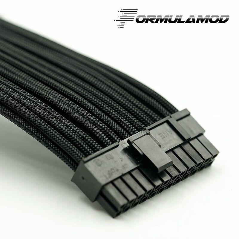 FormulaMod Fm-ATX24P-A, ATX 24Pin материнская плата удлинитель, 18AWG 24Pin многоцветные соответствующие кабели расширения - Цвет лезвия: Black