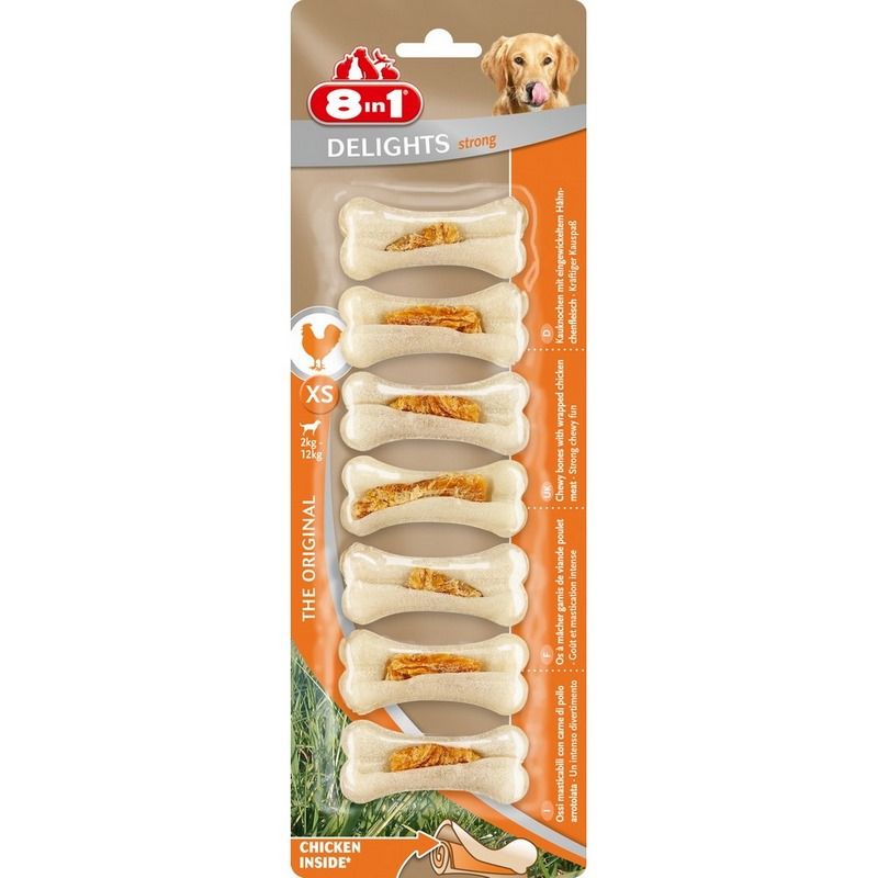 Dogs treats 8in1 DELIGHTS Strong XS extra strong bones with chicken meat for small dogs (7.5 cm)