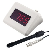 Digital pH Monitor Meter 0.00~14.00 pH Range Waterproof BNC Replaceable Electrode Water Tester + Rechargeable Meter Adapter