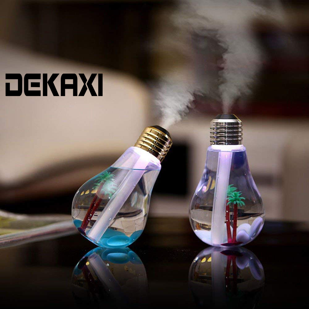 DEKAXI Mini Aroma Diffuser Usb Air Humidifier Led Night Light Aromatherapy Mist Maker With Bottle Bulb Shape For Home Office