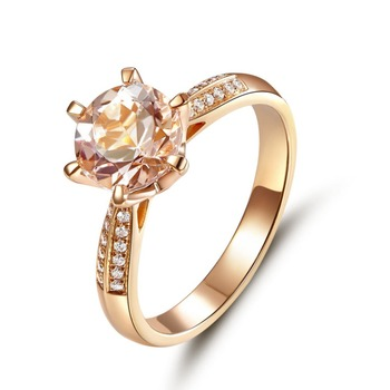 Peacock Star Classic 14K Rose Gold Wedding Engagement Ring 1.2 Ct Peach Morganite Natural Diamonds 6 Claws Prong