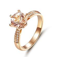 e505c8c38563 Павлин Star классический 14 К розовое золото свадебные Обручение Ring 1,2  Ct персиковым морганитом природных алмазов 6 когти зуб.