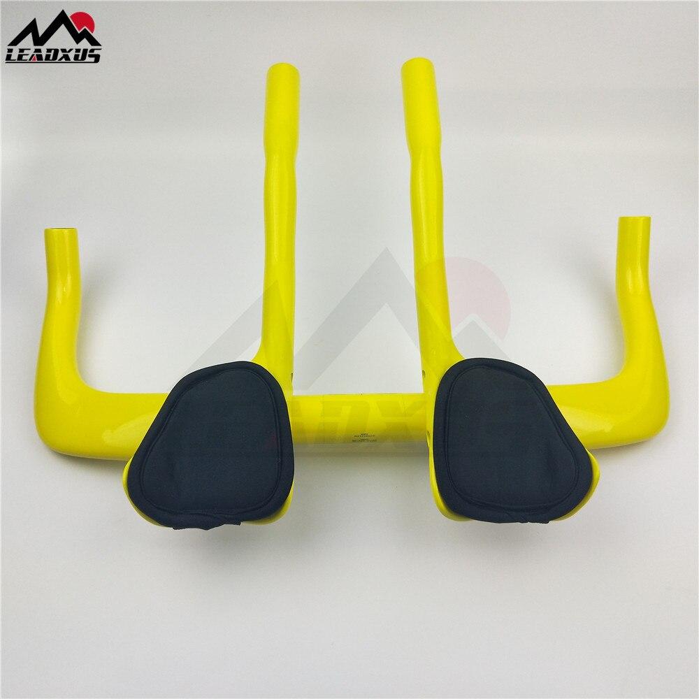 LEADXUS jaune vélo de route reste guidon plein carbone voyage vélo Aero Bar vélo TT guidon + auxiliaire carbone guidon