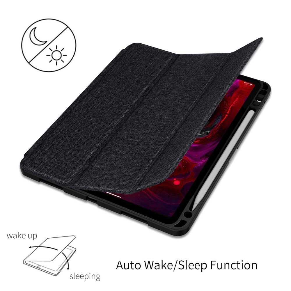Case For iPad Pro 12.9 2018 With Pencil Holder PU Leather Front Cover Silicone Soft Back Smart Case For iPad Pro 12.9 2017 2015