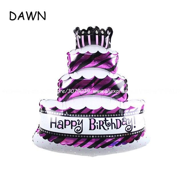 1pcs Lot Big Happy Birthday Cake Foil Balloon Decoration Party Large