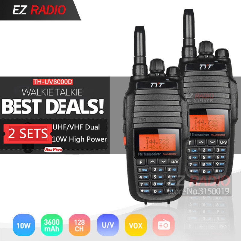 2PCS TYT TH UV8000D Upgrade Version Powerful Long Range 10W Cross Band VHF UHF Amateur Radio