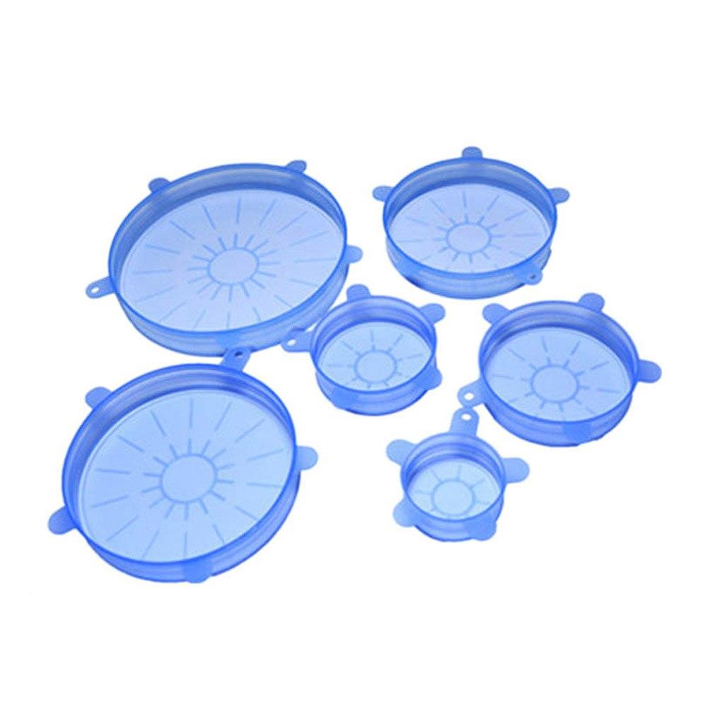 6 pz/set Silicone Coperchio Aspirazione ab-bowl Pan Pot Anti-fuoriuscita Che Perde Coperchio Stretch Copertura Pan Coperchio Sigillato Fresco Copertura tappo Vuoto