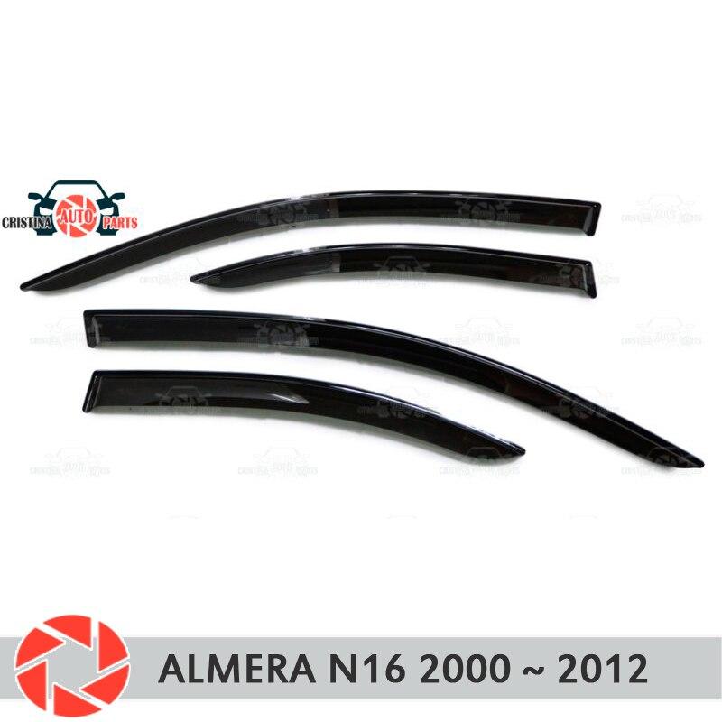 Deflector janela para Nissan Almera N16 2000-2012 chuva defletor sujeira proteção styling acessórios de decoração do carro de moldagem