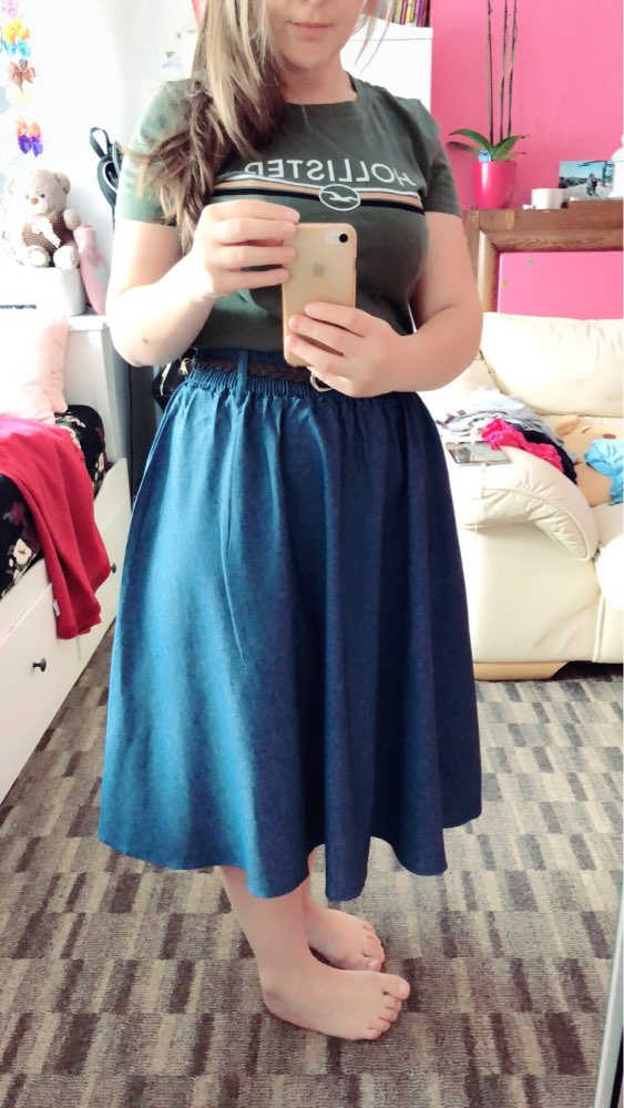 Surmiitro Blue Denim Summer Skirt Women With Belt Midi Knee Length A Line Pleated High Waist Sun School Jeans Skirt Female photo review