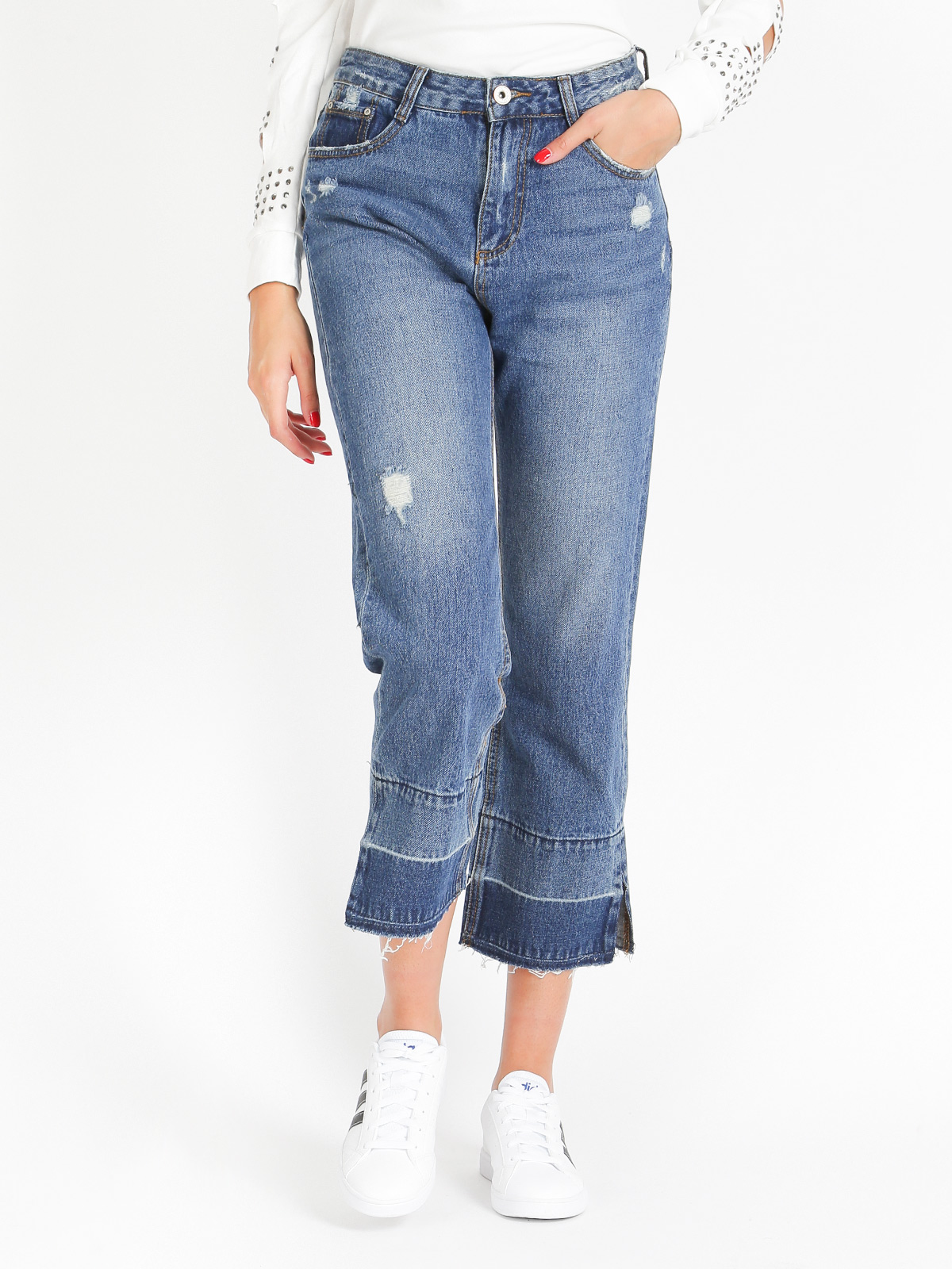 Woman Casual Open Flare Jeans