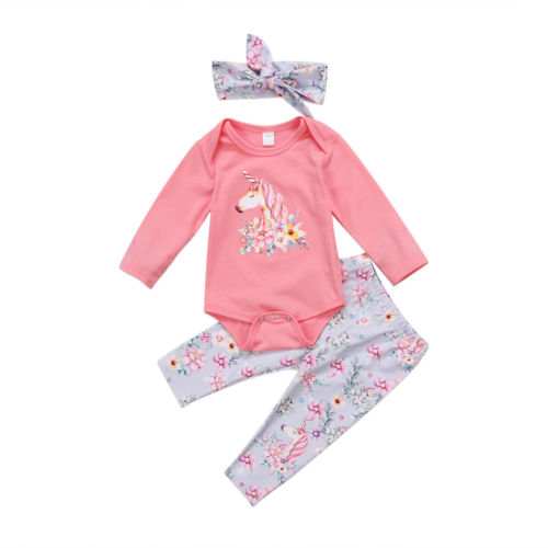 Toddler Baby Girls Clothes Sets Top Romper Long Sleeve Pants Headbands 3pcs Outfits Clothing Set Baby Girl 0-24M