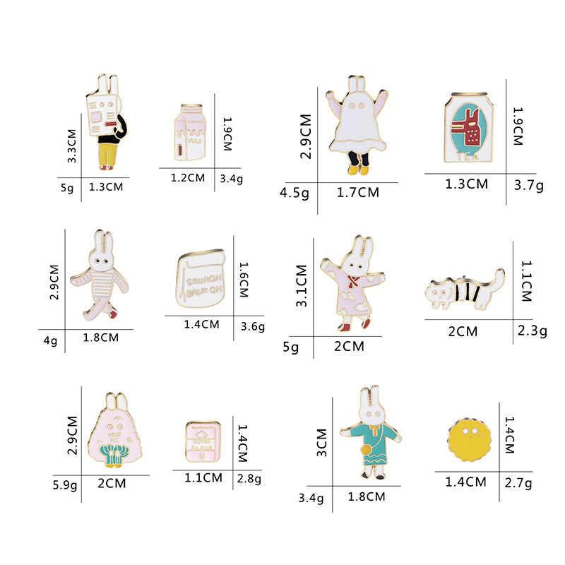 Một Set Creative Phim Hoạt Hình Bunny Quần Áo Vui Vẻ Sinh Viên Tuổi Teen Costume Brooch Nút Pins Phụ Kiện Pin Huy Hiệu Đồ Trang Sức Quà Tặng Cho Trẻ Em