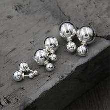 2018 Hot Selling Double Sides Big Bead Stud Earrings 925 Sterling Silver Ball Earrings Women Party Bead Ear Stud Jewelry TYC173 bead ball stud earrings