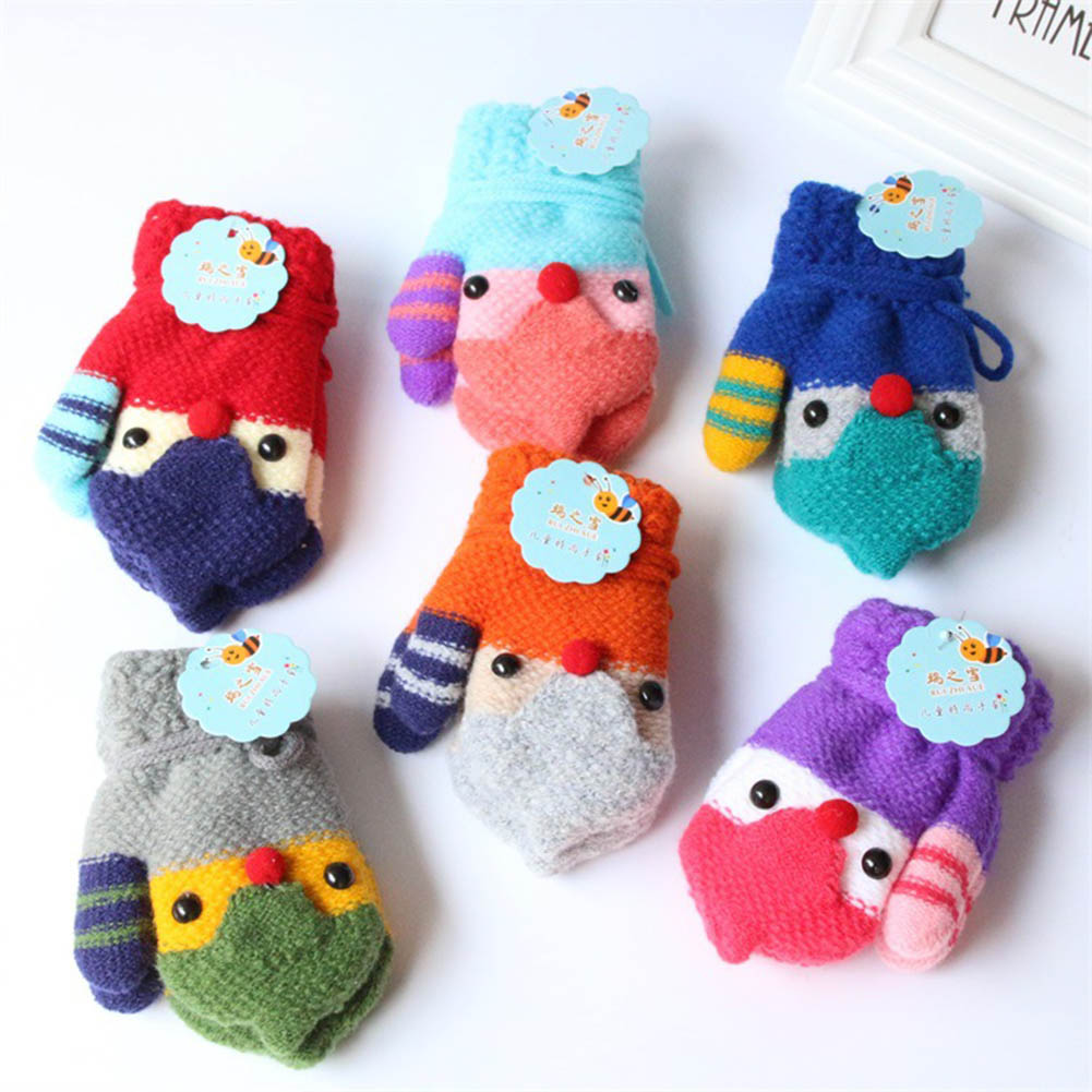 Fashion Girls Boy Cartoon Gloves Kids Children Warm Lanyard  Mitten Cute Whole Covered Finger Rabbit Bear Soft For 1-5 Years